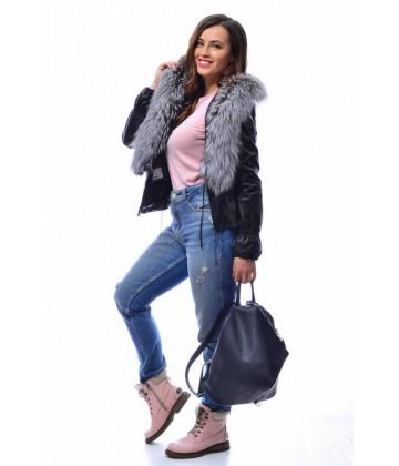 Кожаная куртка с чернобуркой - АРТ. 2066