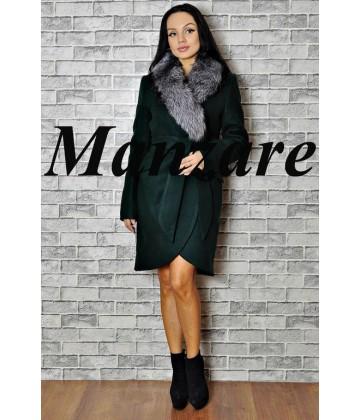 Пальто с воротником из меха - арт 958