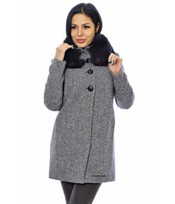 Пальто с воротником из меха - арт.541 b-67