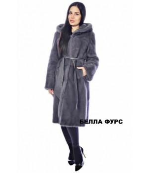 ШУБА ГРАФИТ из меха НОРКИ - арт. 655