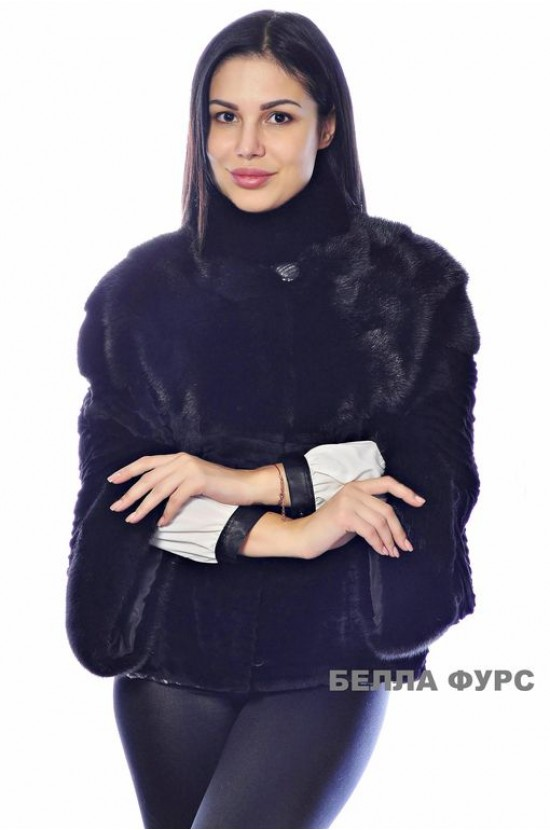 ШУБА ЧЕРНАЯ из меха НОРКИ - арт. 630