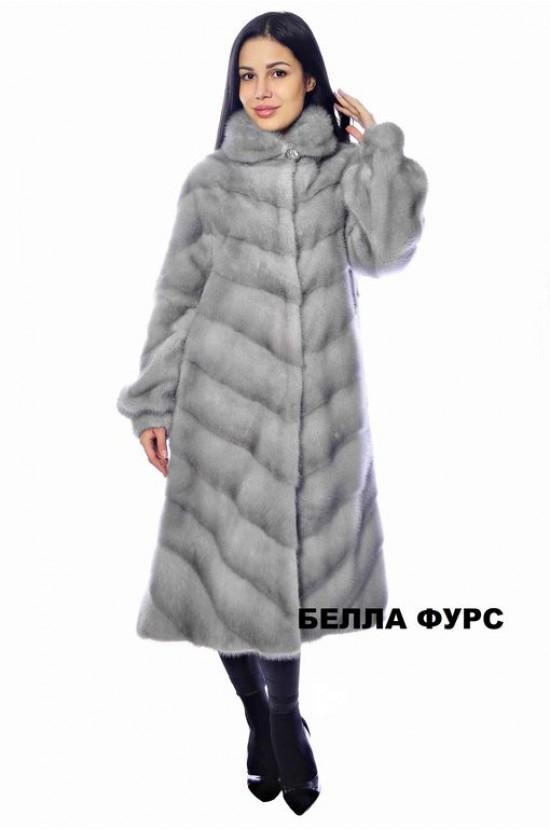 ШУБА СЕРАЯ из меха НОРКИ - арт. 651