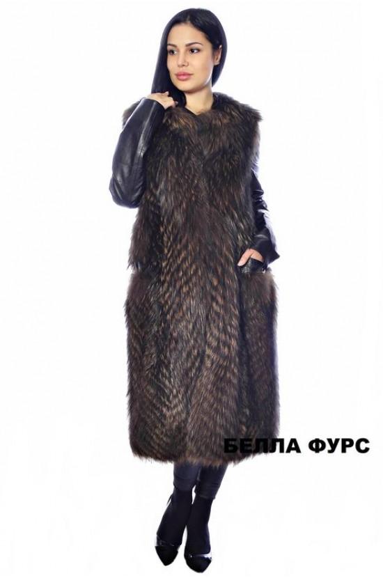Жилет из ЧЕРНОБУРКИ С РУКАВАМИ коричневый - арт. 615
