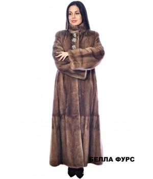ШУБА КОРИЧНЕВАЯ из меха НОРКИ - арт. 642