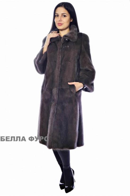 ШУБА темно-КОРИЧНЕВАЯ из меха НОРКИ - арт. 650
