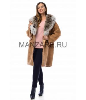 Шерстяное пальто с мехом песца 90 см, цвет карамель арт. 2410-007