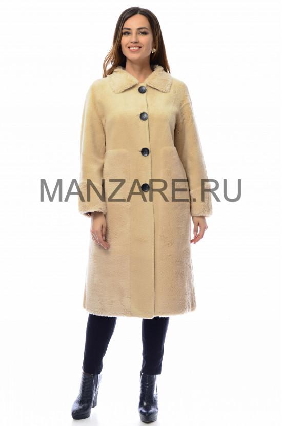 Пальто из эко-меха, цвет кремовый АРТ. 0210-005