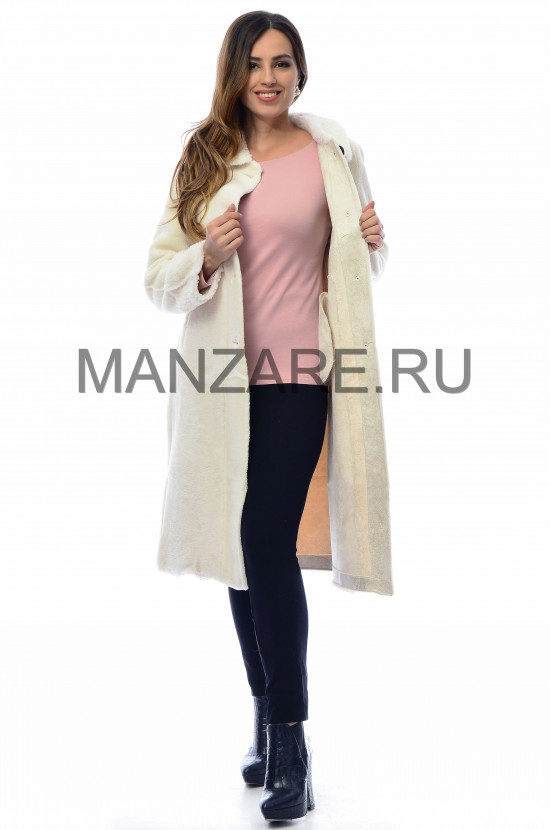 Пальто из эко-меха, цвет молочный АРТ. 0210-004