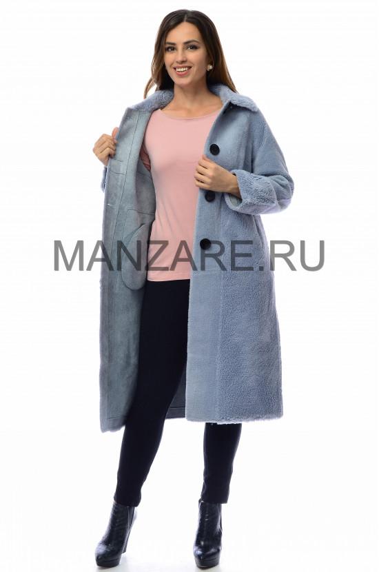 Пальтоиз эко-меха, цвет голубой арт. 0210-001