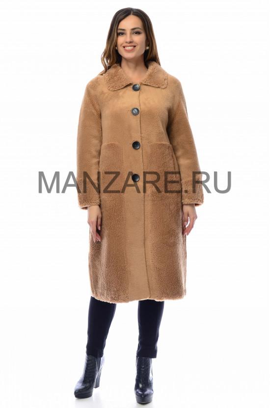 Пальто из эко-меха, цвет карамельный арт. 0210-003