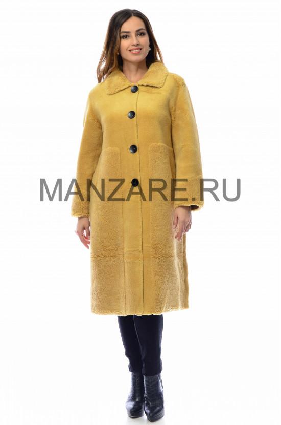 Пальто из эко-меха, цвет горчичный арт. 0210-002
