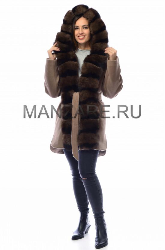 Шерстяное пальто с мехом песца 85 см, цвет капучино арт. 2410-004