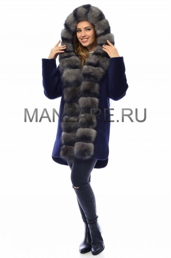 Шерстяное пальто с мехом песца 85 см, цвет Синий арт. 2410-006