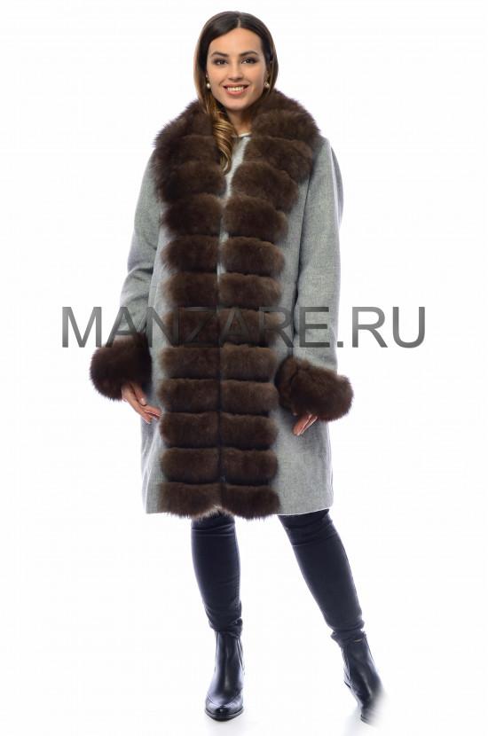 Шерстяное пальто с мехом песца 100 см, цвет серый арт. 2410-003