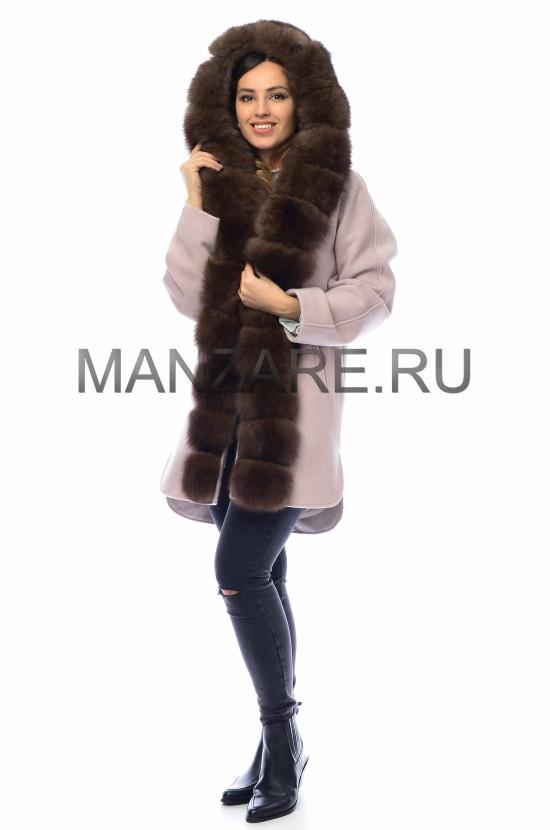 Шерстяное пальто с мехом песца 85 см, цвет пудра арт. 2410-005