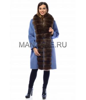Шерстяное пальто с мехом песца 100 см, цвет голубой арт. 2410-001