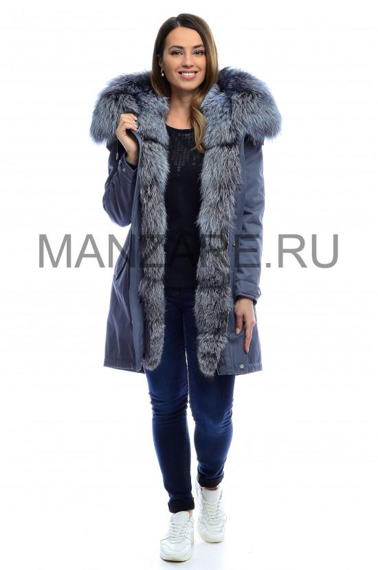 Парка с мехом чернобурки 90 см, цвет голубой арт. 2610-038