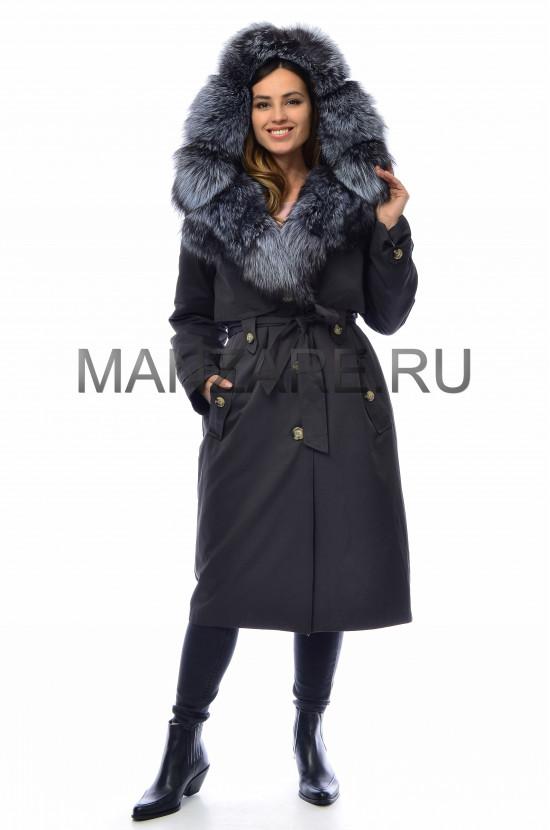 Парка с мехом чернобурки, цвет черный арт. 2909-06