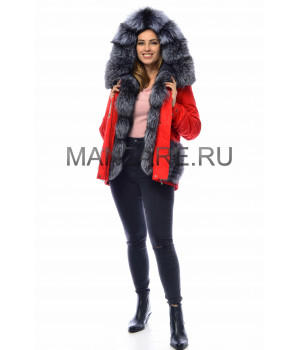 Парка с мехом чернобурки, цвет красный арт. 3009-12