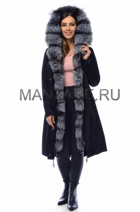 Парка с мехом чернобурки, цвет черный арт. 2909-07