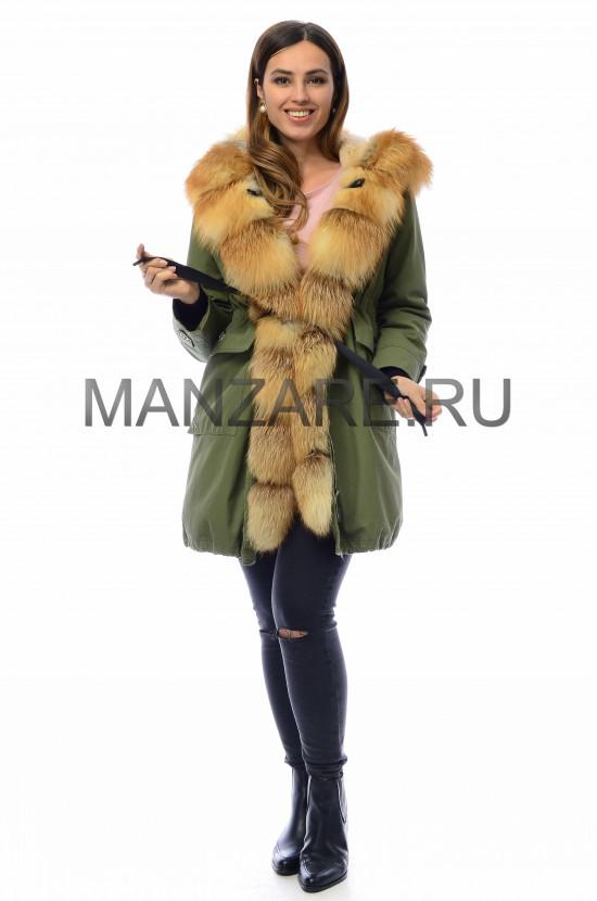 Парка с мехом лисы, цвет зелёный арт. 0110-027