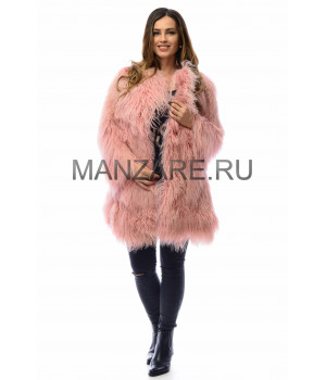 Шуба из меха ламы, цвет розовый арт. 2709-01