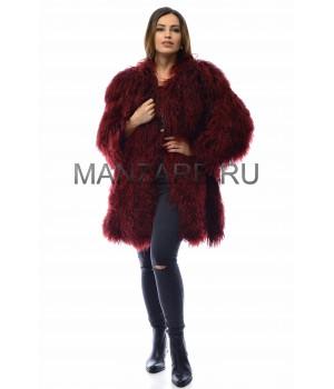 Шуба из меха ламы, цвет бордо арт. 2709-02