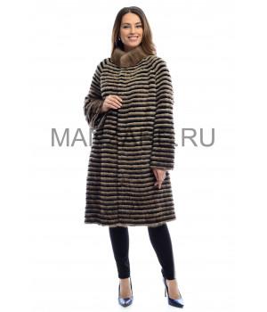 Трикотажное пальто из меха норки 100 см арт. 2710-001
