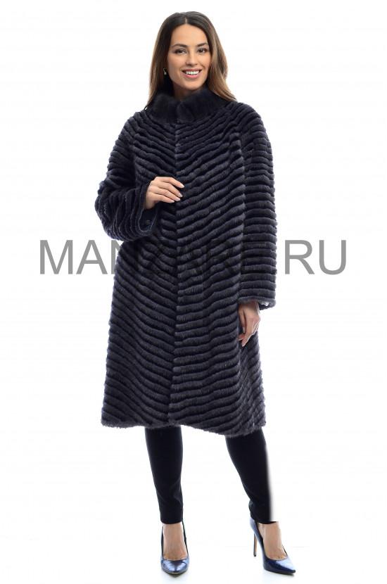 Трикотажное пальто из меха норки 100 см арт. 2710-002